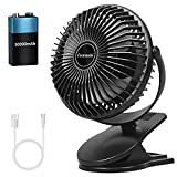 Battery Operated Clip On Fan 10000mAh with 36hours(MAX), Small Desk USB Rechargeable Sturdy Clamp Fans with 3 Speeds, Personal Portable Fan for Stroller Bedroom Office Tent Camping Golf Cart Treadmill Beach