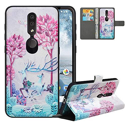 LFDZ Cover Nokia 4.2 con [RFID Blocco],Custodia Nokia 4.2 Cover con Staccabile Premium PU Pelle Portafoglio,Flip Wallet con Magnetico Case per Nokia 4.2,Deer