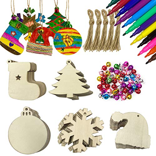 Anditoy 50 PCS Christmas Wooden Hanging Ornaments Unfinished Wood Slices Christmas Crafts for Kids DIY Christmas Decorations Party Supplies Favors