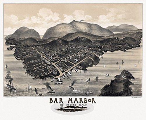 The Poster Corp Historic Map of Bar Harbor Maine 1886 Hancock County Fine Art Print (45.72 x 60.96 cm)