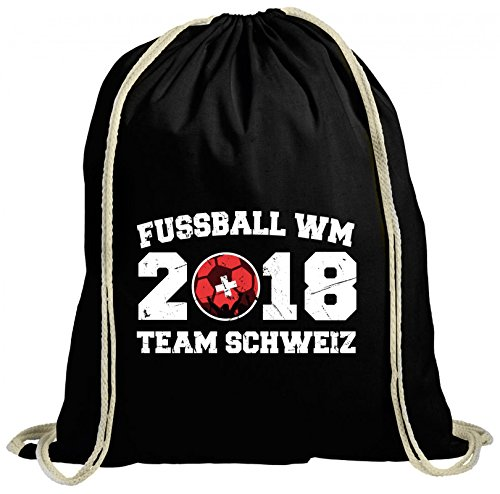 ShirtStreet Swiss Fußball WM Fanfest Gruppen natur Turnbeutel Rucksack Gymsac Team Schweiz, Größe: onesize,schwarz