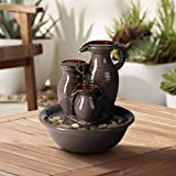 Universal Lighting and Decor Triple Jug Zen Indoor Table-Top Water Fountain 9' High Cascading for Table Desk Office Patio Home Bedroom Relaxation - John Timberland