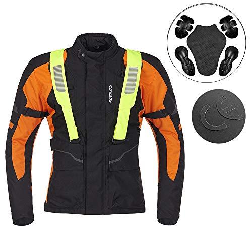 Motorradjacken Herren Schutzausrüstung Atmungsaktives Mesh Jacken Kollektion Damen Komfortable wasserdichte Reflektierende Motorradjacke,Orange-S