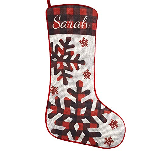 Let's Make Memories Personalized Christmas Stockings - Perfectly Plaid Rustic Stocking - Snowflake Design - Customize with Your Name - 20% cotton/80% Polyester - 7.5' W x 19' L