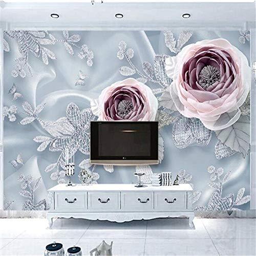 ZJfong 3D Behang Driedimensionale Zijde kant Bloem Luxe Bruiloft Kamer Slaapbank Woonkamer TV Achtergrond Muur 330 x 210 cm.