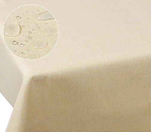 Laneetal 0800050 Tischdecke Leinendecke Leinenoptik Wasserabweisend Lotuseffekt Tischtuch Fleckschutz pflegeleicht abwaschbar schmutzabweisend Eckig 130x260 cm Champagne