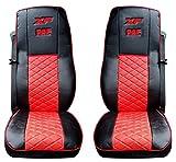 Juego de 2 piezas. Protectores de alta calidad para asientos de camión, color negro y rojo, accesorios de decoración 100% piel ecológica