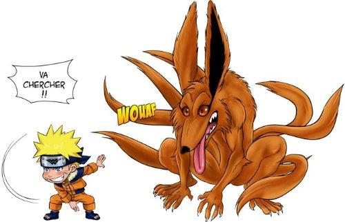 T-Shirt Noir Naruto parodique Naruto et Kyubi Le démon Renard à 9 queues : Va Chercher ! (Parodie Naruto)