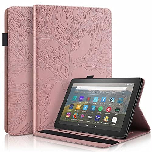 CRABOT Verenigbaar Samsung Galaxy Tab S5e SM T720/T725 10.5 2019 Tablet Case Hoes Met kaartsleuf Portemonnee Automatisch Slapen/Wakker Worden Boom van leven -Rose Goud
