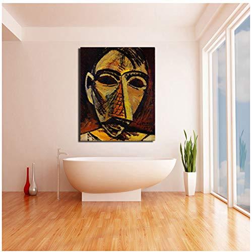 sjkkad Pablo Picasso Afrikaanse maskers muurkunst canvas schilderij poster print modern schilderij muurschildering voor woonkamer decoratie 60x80 cm geen lijst