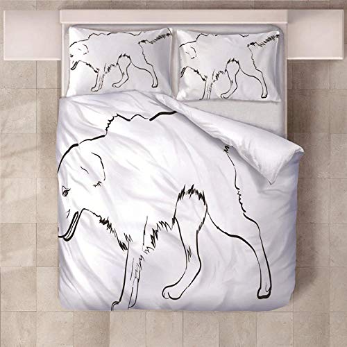 PERFECTPOT Super King Duvet Cover Set Dog Printed Bedding Sets in Polyester, 1 Quilt Cover with 2 Pillowcases for Children Boys Girls Adults, 260 x 220 cm