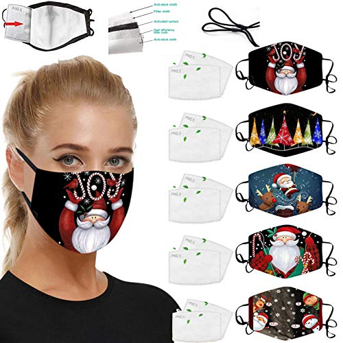 5 Pack Protective Reusable Face_Mask with 10 Filters,Breathable Washable Face_Mask for Glasses Wearers,Cotton Colorful Funny Facemasks for Man Woman Outdoor Indoor Holiday Party Gift