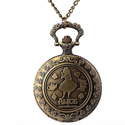 Collar de reloj de metal, sin níquel, diseño de Alicia en el...