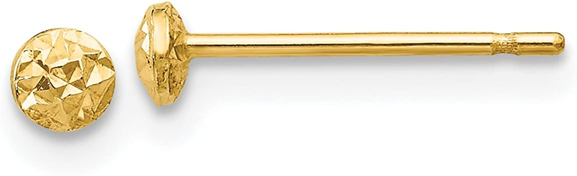 14K Yellow Gold 3mm Puff Circle Post Earrings