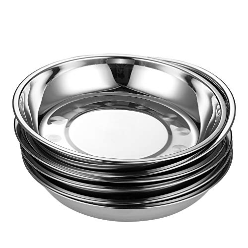 Aebeky 6-Piece Stainless Steel Round Plates,Camping Plates,9-Inch