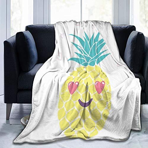 Manta mullida, diseño de piña con una sonrisa y ojos de corazón, diseño de frutas tropicales, retrato de frutas, ultra suave, manta para dormitorio, cama, TV, manta de cama de 80 x 60 pulgadas
