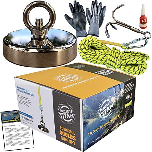 Treasure Titan Complete Magnet Fishing Kit | 500LB Pull Force Strong Neodymium Rare Earth Magnet | Heavy Duty 65 Foot Rope | Grappling Hook | Locking Carabiner | Gloves | Threadlocker | Guide