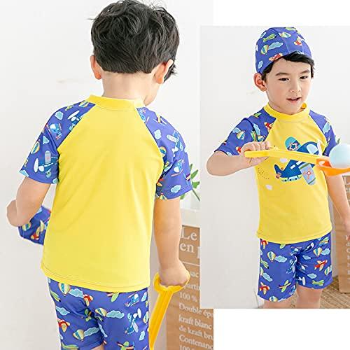 水着 男の子 3点 セット セパレート 子供 ジュニア 帽子付き スイミングウェア 男児 スイミング 温泉 プール 海 ビーチ C (L)