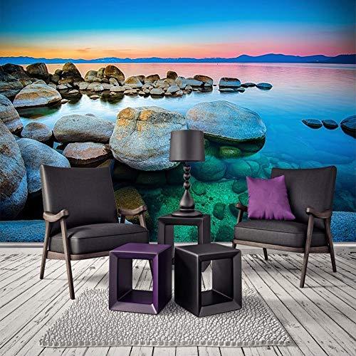 Fotobehang wandschilderij wandschilderijen woonkamer TV sofa achtergrond behang moderne wooncultuur kamer kust zeewater steen landschap 400cm x 280cm