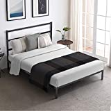 Giantex Black Metal Bed Frame with Headboard Queen Size, Heavy Duty Platform Bed Platform, Wood Slat Support-Noise Free & Under Bed Storage, Easy Assembly, Mattress Foundation