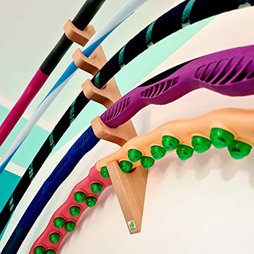 Natürliche Lebensfreude – 5er Hula Hoop Halter aus Holz – Made in Germany – Wandhalterung – Fitness Reifen Organizer – einzigartiges Design - Kinder und Erwachsene – Geschenkidee