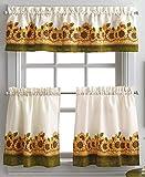 Curtainworks Sunflower Garden Window Kitchen Curtain Tier and Valance, Yellow