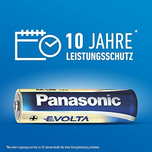 Panasonic Evolta Alkaline Batterie, AAA Micro LR03, 10er Pack in plastikfreier Verpackung, 1.5V, Premium-Batterie mit besonders langanhaltender Energie, Alkali-Batterie
