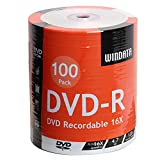 Windata DVD-R Discs 100 Pack 16x 4.7GB/120 Minute Blank Data Recordable Media - 100-Pack Shrink Wrap NO Spindle NO Cake Box Package