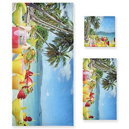 ZORMIEY Juego de 3 Toallas Decorativas Suaves y Altamente absorbentes para Interior de Bebidas Tropicales, 1 Toalla de baño + 1 Toalla de Mano + 1 paño, para baño, Hotel, Gimnasio y Cocina