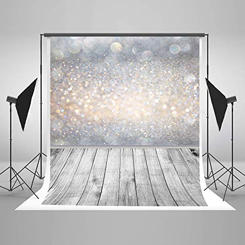 Kate 5x7ft/1.5x2.2m Glitter Microfiber Backdrop Bokeh Halos Backdrop Fondo de Suelo de Madera Gris para Estudio de fotografía de decoración de Pared