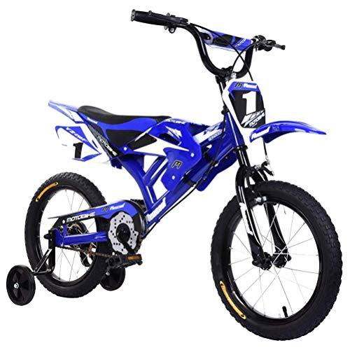 BSTQC Bicicleta 16 Pulgadas, Bicicletas Niños, diseño de Moto Unisex para niños con Guardabarros y Freno en V