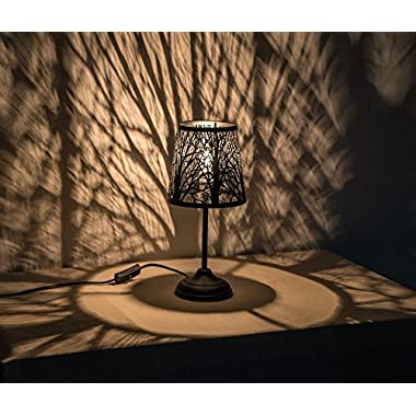 Kanstar 15  Hollowed-Out Metal Table Lamp Desk Lamp Bed Lights with Lamp Shade (Forest)