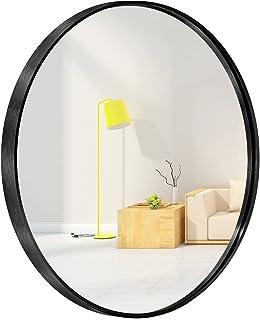 Miroir mural rond pour entrée, salle de bain, salon - Miroir rond en métal pour mur (noir, 60 cm)
