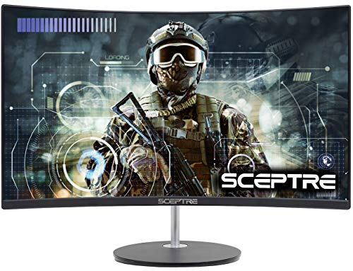 "Sceptre 24"" Curved 75Hz Gaming LED Monitor Full HD 1080P HDMI VGA Speakers, VESA Wall Mount Ready Metal Black 2019 (C248W-1920RN)"