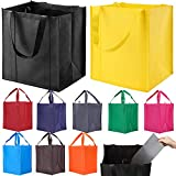 10 Pack Reusable Reinforced Handle Grocery Bags - Heavy Duty Large Shopping Totes with Thi...