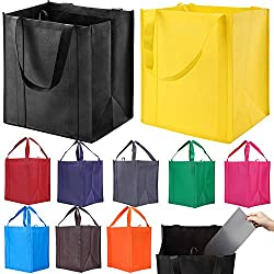 in budget affordable 10 reusable shopping bags with reinforced handles – thick, high-performance shopping bags…