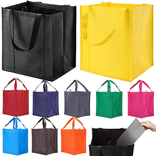 10 Pack Reusable Reinforced Handle Grocery Bags - Heavy Duty Large Shopping Totes with Thick Plastic Bottom can hold 40 lbs