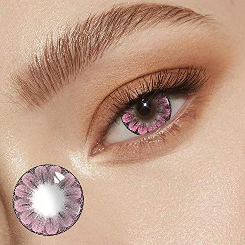 TopqualitäT Pflaumenblüte Farbige Kontaktlinsen Jahreslinsen, NatüRlich Federnd Weichen Hochdeckende Kontaktlinsenfarbe, Durchmesser 14.5mm,Ohne StäRke (rosa, 1 paar)