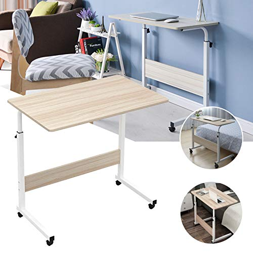 RASHION 60 x 40 cm Laptop Desk, Height Adjustable Computer Desk, Mobile Computer Stand Desk Portable Side Table for Bed Sofa (White Maple)