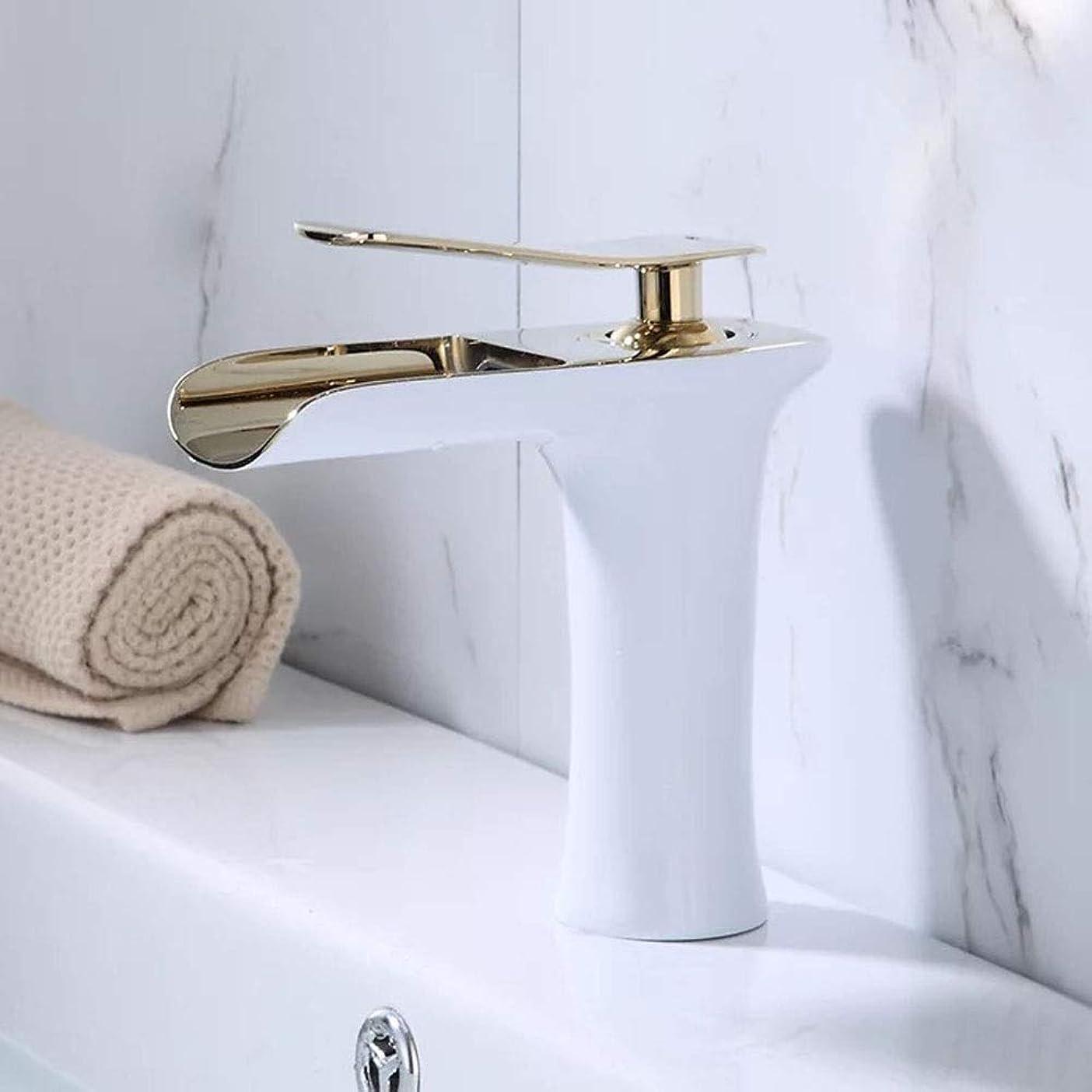 噴水襟エトナ山HYH 黒と白の盆地銅ベーキング塗料家庭用バスルームシンク流域バスルーム滝蛇口 美しい人生 (Size : ショート)