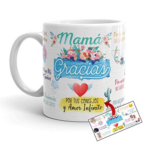 Kembilove Taza Madre – Taza Desayuno Regalos para Mamá – Regalos Originales para Madres con Mensaje Mamá Gracias – Regalo para el Día de la Madre – Diferentes Diseños Originales