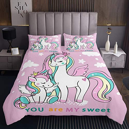 Juego de colcha acolchada con diseño de unicornio para niñas y niños, diseño de caballo de ensueño con dibujos animados y animales mágicos