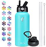 Elvira 32oz Vacuum Insulated Stainless Steel Water Bottle with Straw & Spout Lids, Double Wall Sweat-proof BPA Free to Keep Beverages Cold For 24 Hrs or Hot For 12 Hrs-Sky Blue
