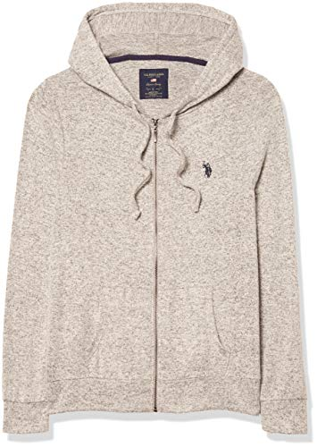 U.S. Polo Assn. Women's Zip Up Sweater, Hooded Grey Scale Combo US311, L