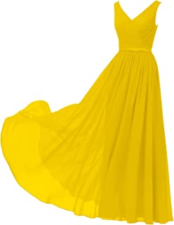 V-Neck Chiffon Bridesmaid Dress Long Party Prom Evening Dress Sleeveless