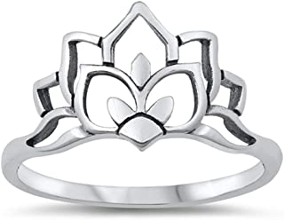 Elegant Open Lotus Flower Ring New .925 Sterling Silver Band Sizes 4-10