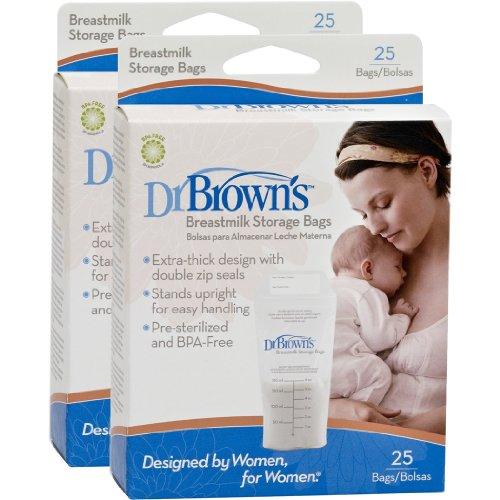 Dr. Brown's Breastmilk Storage Bags, 25 Count (Set of 2)