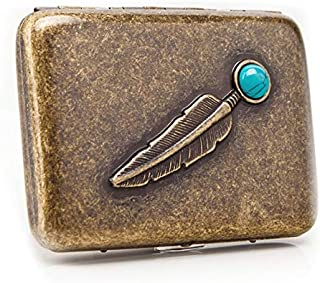 KUCHEQICHE 16 Packs of Cigarette Cases, Personalized Metal Cigarette Packs, Cigarette Holders, 320 Ancient Silver Turquoise Feathers, (Color : Copper)