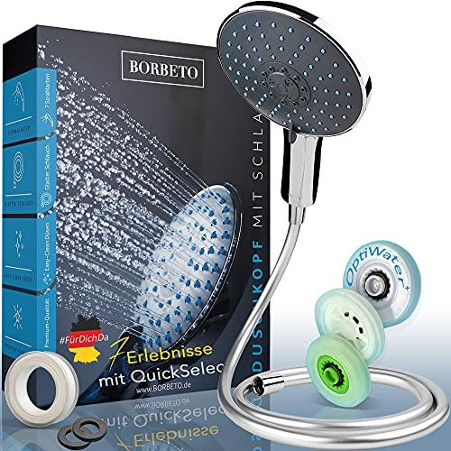 BORBETO® Duschkopf Relaxx7 – Inklusive glattem Schlauch – Sieben [7] Wohlfühlprogramme – [150mm] Regendusche – EasyClean+ Düsen im Brausekopf – Wassersparende Duschbrause mit QuickSelect+
