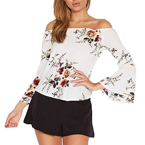 Carmenbluse Damen Elegant T-Shirts Young Fashion Boot Hals Langarmshirt Trompetenärmel Einfacher Stil Blumendrucken Trägerlos Loose Chiffon-Bluse 34-40 (Color : Weiß, One Size : L)